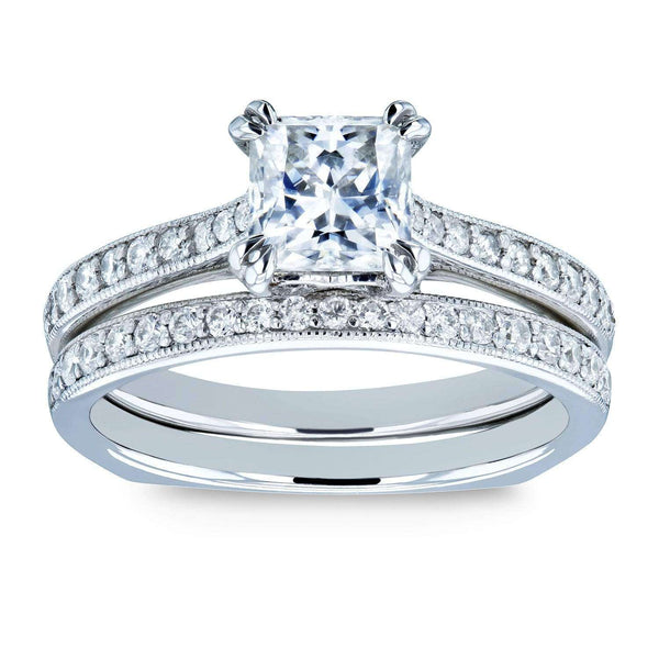 Kobelli Princess Moissanite and Diamond Square Shank Trellis Wedding Rings 1 1/3 CTW 14k White Gold (FG/VS, GH/I)