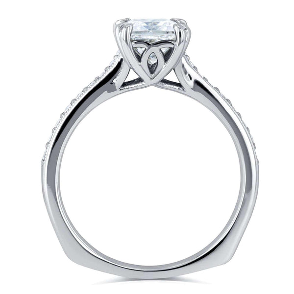 Kobelli Princess Moissanite and Diamond Square Shank Trellis Engagement Ring  1 1/10 CTW 14k White Gold (FG/VS, GH/I)