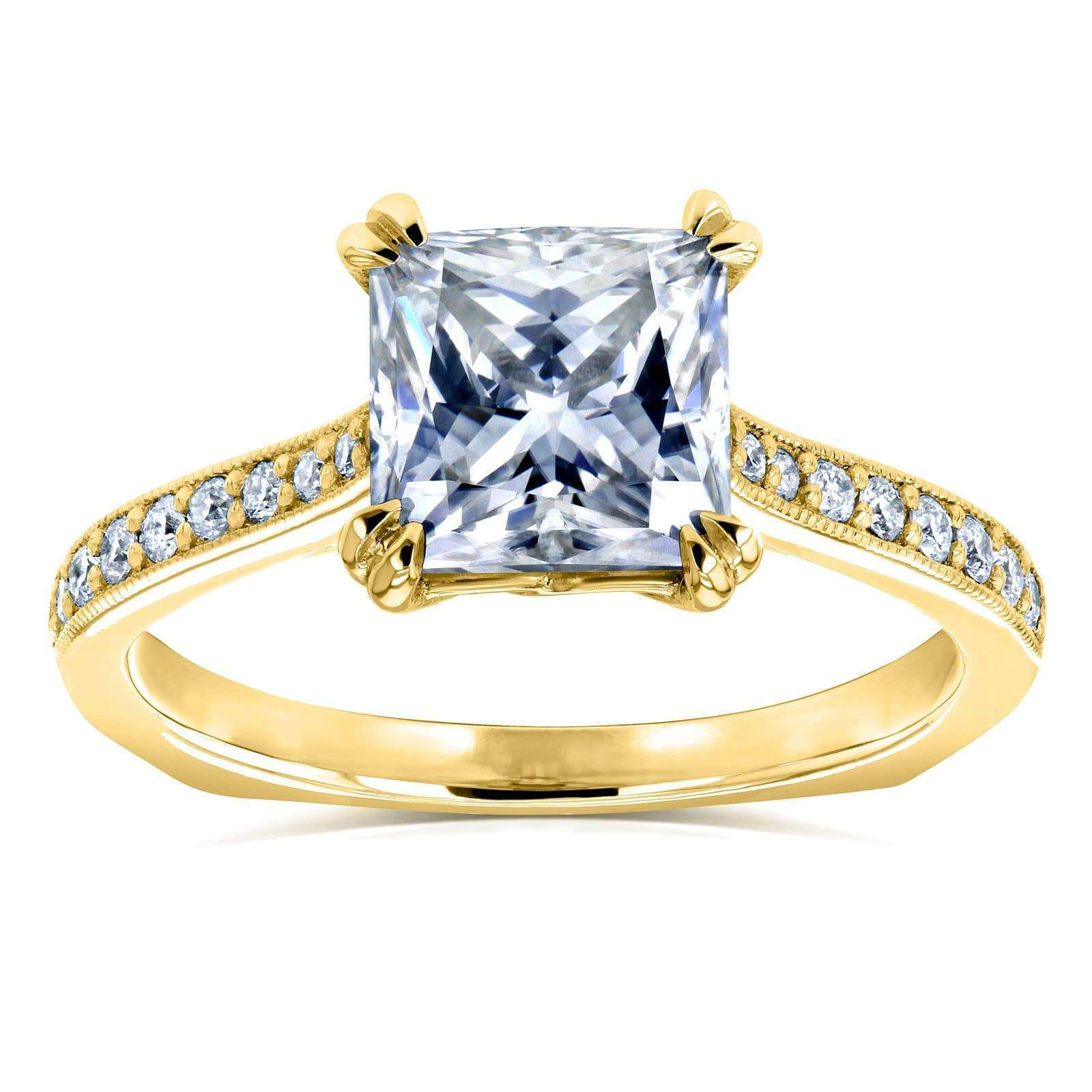 Compare Princess Moissanite and Diamond Square Shank Trellis Engagement Ring  2 1/10 CTW 14k Yellow Gold (FG/VS GH/I) - 6.5