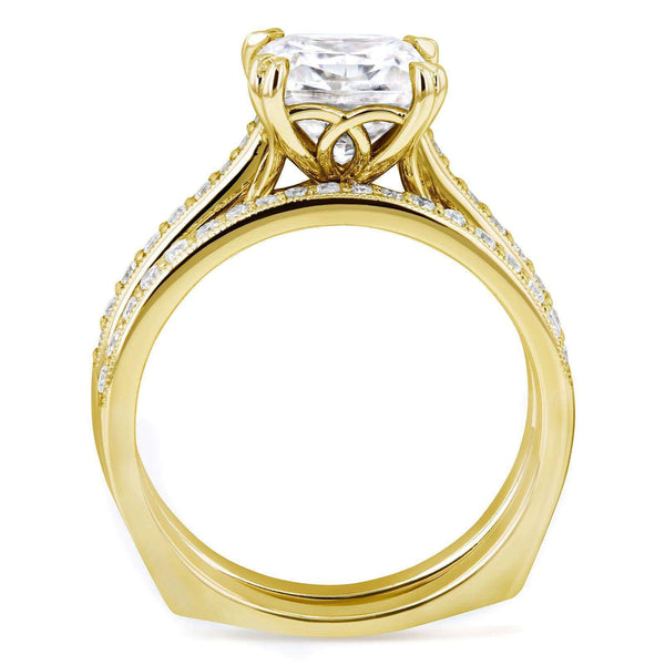 Kobelli Princess Moissanite and Diamond Square Shank Trellis Bridal Set  2 1/3 CTW 14k Yellow Gold (FG/VS, GH/I)