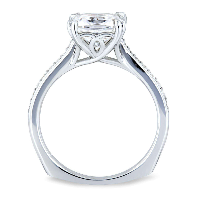 Kobelli Princess Moissanite and Diamond Square Shank Trellis Engagement Ring  2 1/10 CTW 14k White Gold (FG/VS, GH/I)