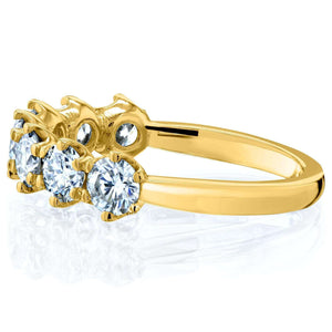Kobelli 7-Stone Prong Set Moissanite Ring 1 1/10 Carat TW in 14k Yellow Gold (FG/VS)