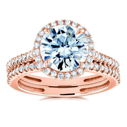 Kobelli Round Brilliant Moissanite and Diamond Halo Bridal Wedding Rings Set 2 1/3 CTW 14k Rose Gold (FG/VS, GH/I)