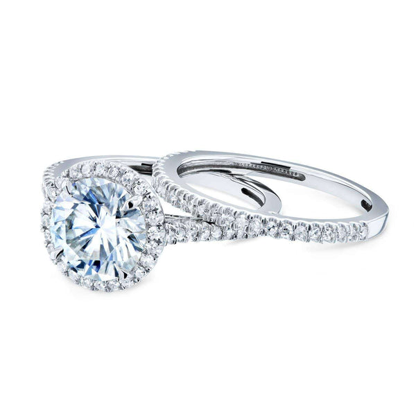Kobelli Round Brilliant Moissanite and Diamond Halo Bridal Wedding Rings Set 2 1/3 CTW 14k White Gold (FG/VS, GH/I)