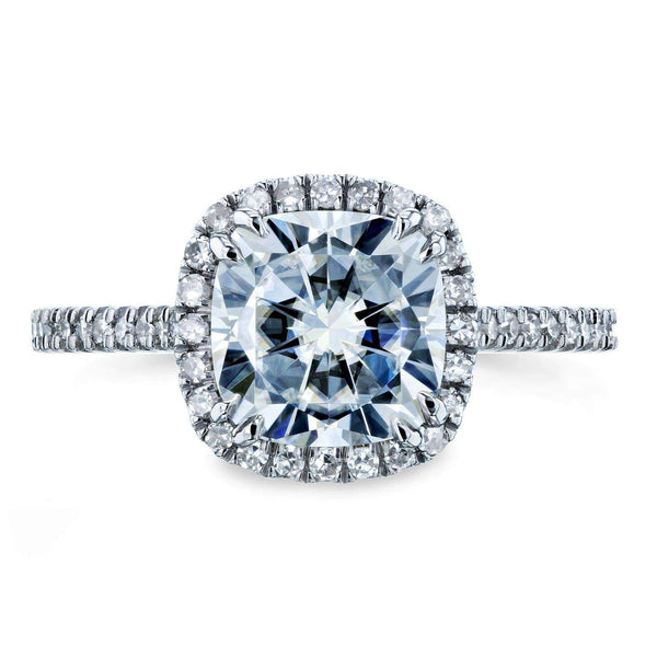Kobelli Forever One Cushion Moissanite and Diamond Halo Engagement Ring 2 1/4 CTW 14k White Gold (DEF/VS, GH/I)