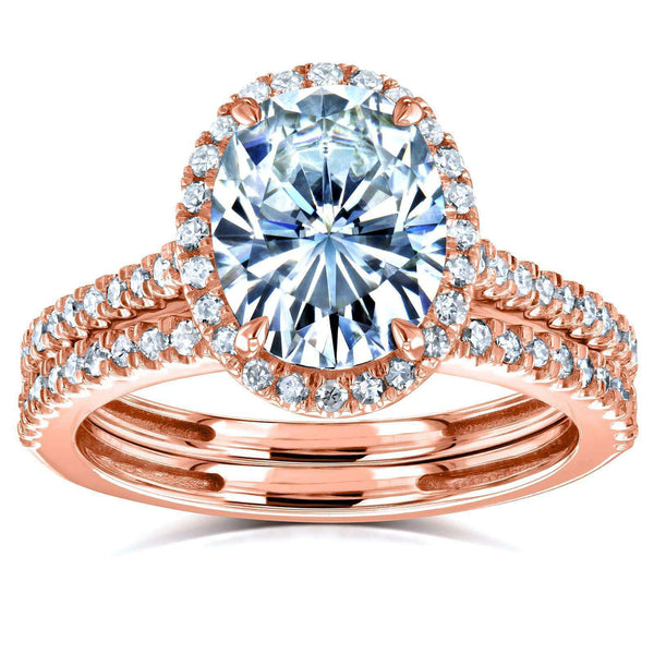 Kobelli Oval Moissanite and Diamond Halo Bridal Rings Set 2 3/8 CTW 14k Rose Gold (FG/VS, GH/I)