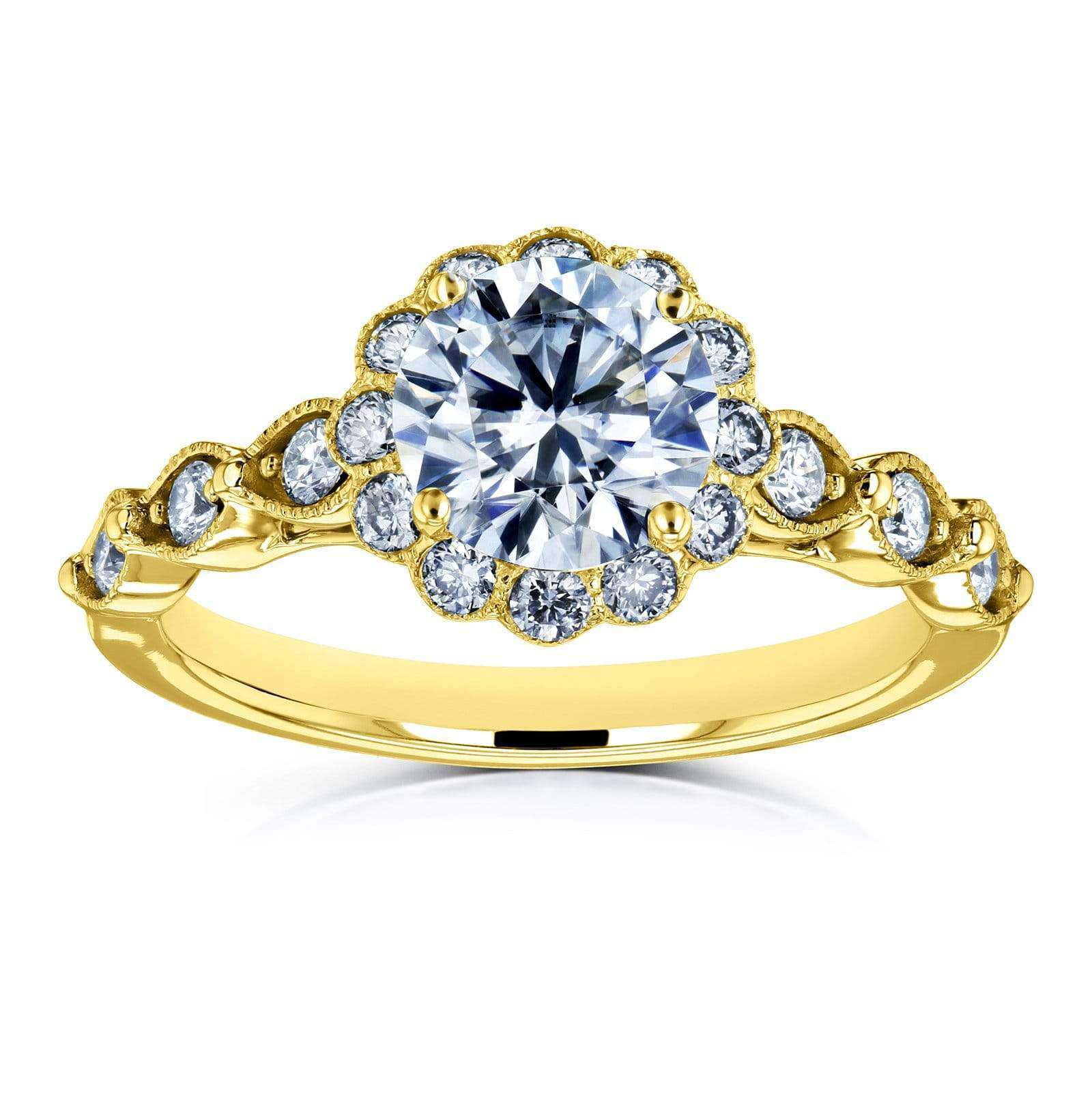 Coupons Round Moissanite and Diamond Floral Engagement Ring 1 1/3 CTW 14k Yellow Gold (FG/VS GH/I) - 9