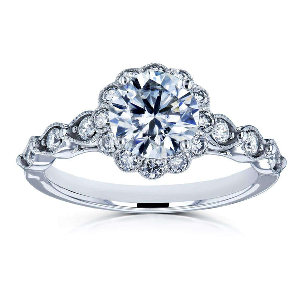 Kobelli Round Moissanite and Diamond Floral Engagement Ring 1 1/3 CTW 14k White Gold (HI/VS, GH/I)