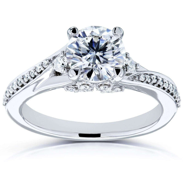 Kobelli Forever One Moissanite and Diamond Bypass Ring 14k White Gold (DEF/VS, GH/I)