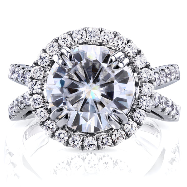 Near-Colorless (F-G) Moissanite Engagement Ring with Diamond 6 CTW 14k White Gold
