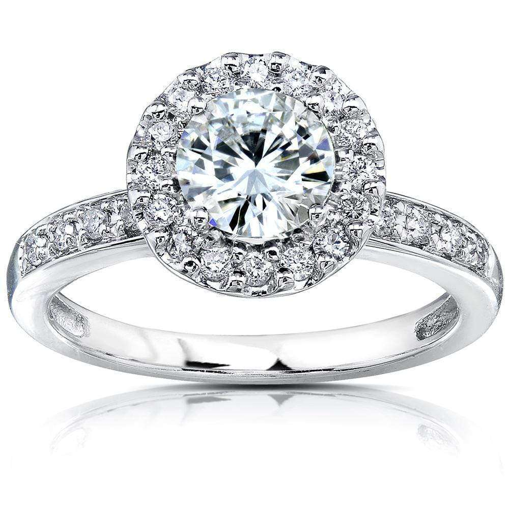 Top Round F-G Moissanite with Diamond Halo Engagement Ring 1 1/4 CTW 14k White Gold - 10.5