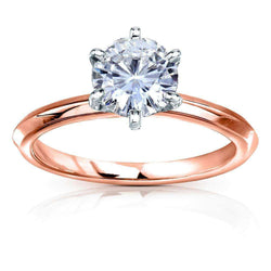 Kobelli Classic Solitaire Round Brilliant Moissanite Engagement Ring 1 Carat 14k Rose Gold (DEF, VS)