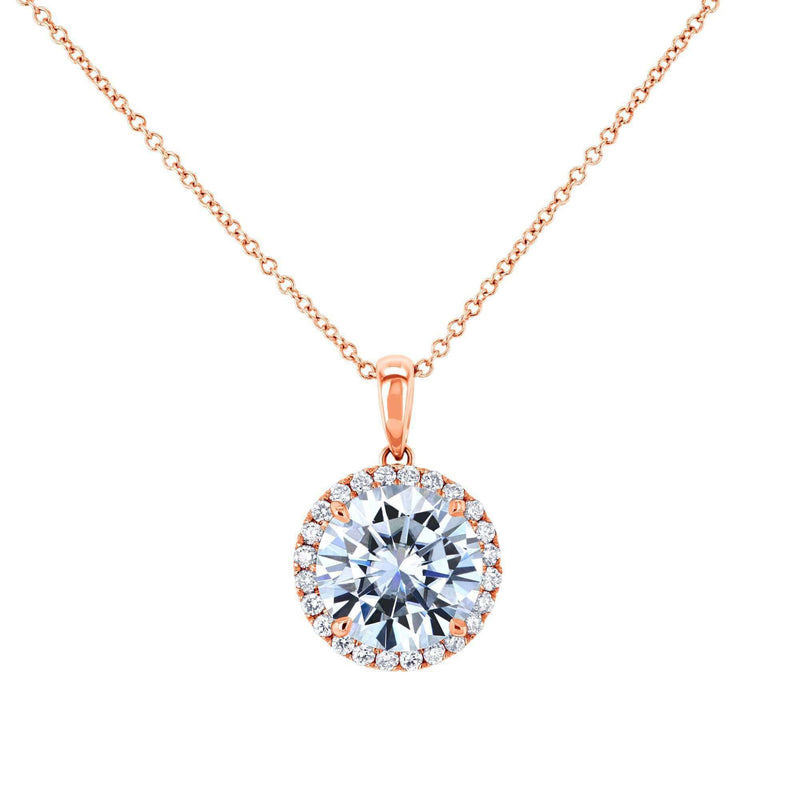 Kobelli Moissanite and Natural Diamond Halo Necklace MZ61757_RG