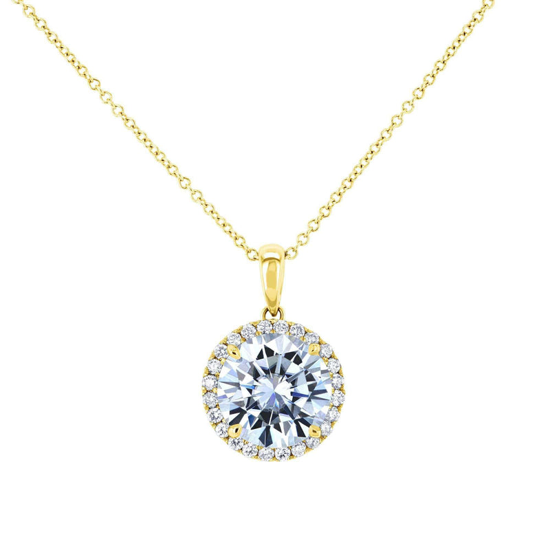 Kobelli Moissanite and Natural Diamond Halo Necklace MZ61757_YG