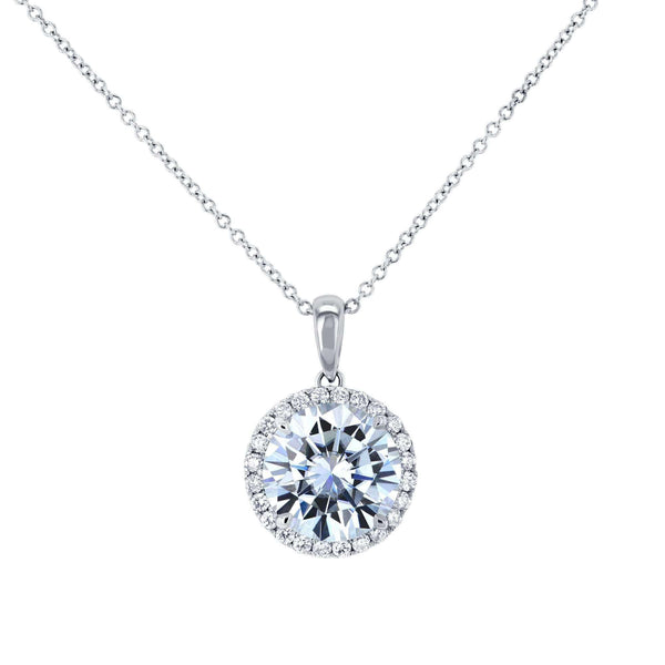 Kobelli Moissanite and Lab Diamond Halo Necklace MZ61757LG/W