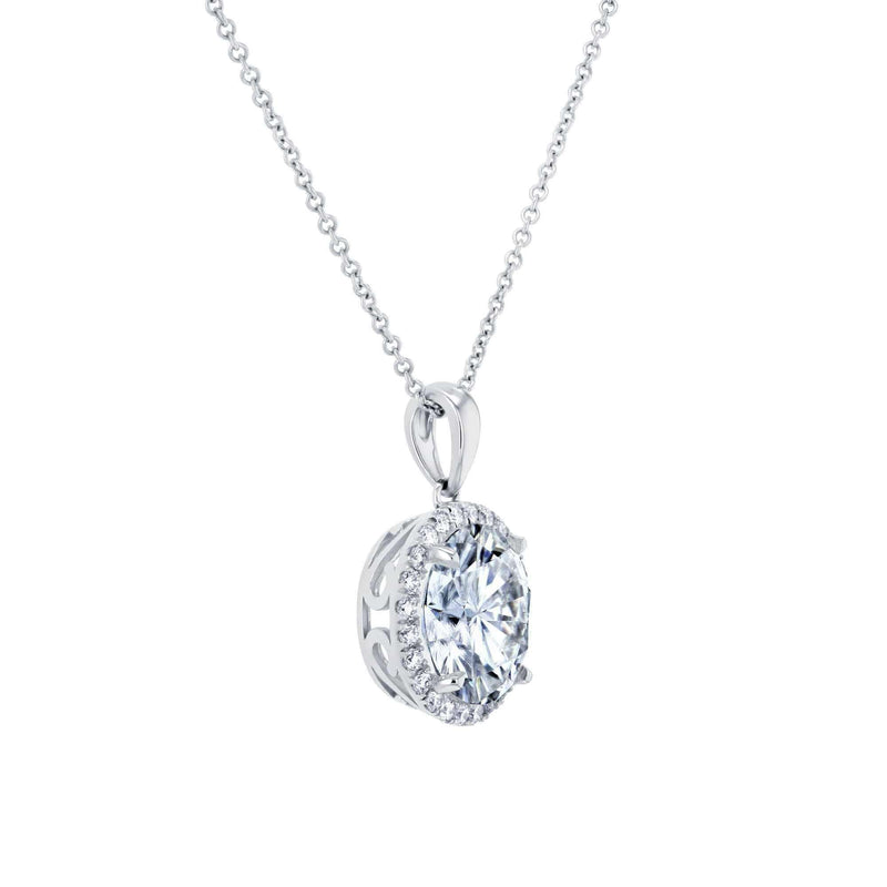 Kobelli Moissanite and Natural Diamond Halo Necklace