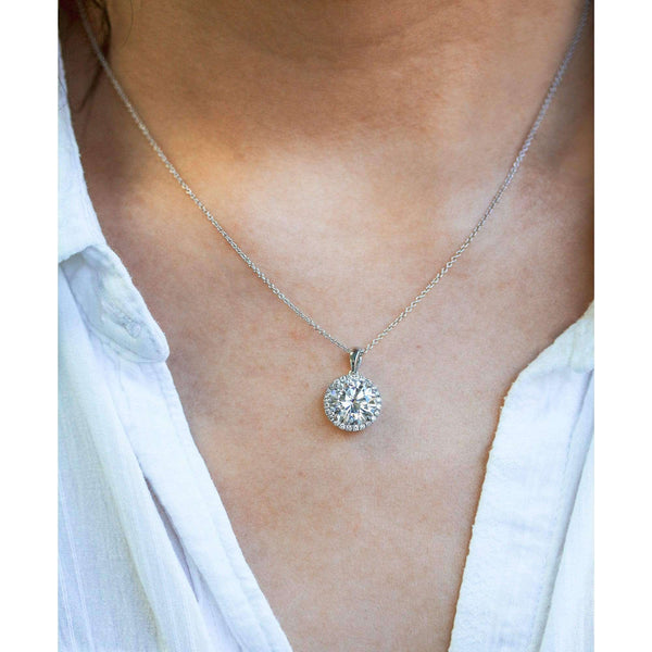 Kobelli Moissanite and Lab Diamond Halo Necklace