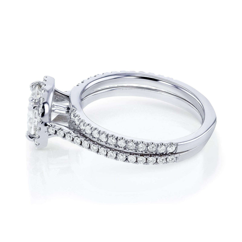 Kobelli Cushion Forever One (D-E-F) Moissanite and Diamond 1-1/2ct TGW Halo Bridal Set in 14k White Gold