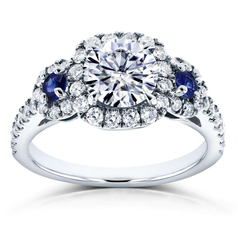 Kobelli Moissanite (DEF) Sapphire and Diamond Engagement Ring 1 3/4 CTW 14k White Gold