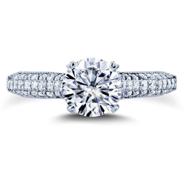 Kobelli Round Moissanite & Micro-pave Diamond Ring 1-1/2 CTW