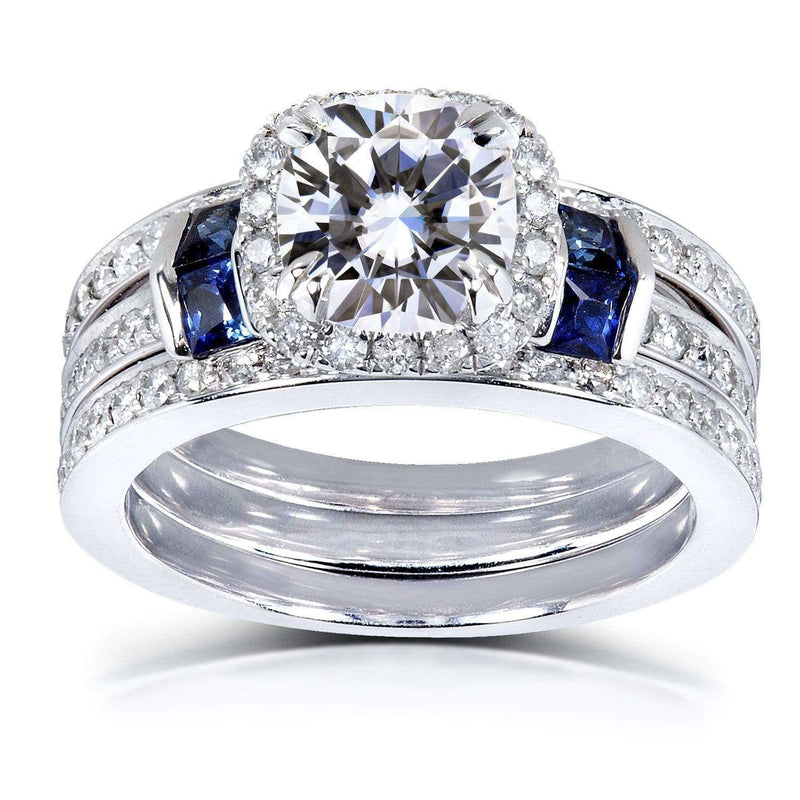 Kobelli Mixed Stone Moissanite with Diamond and Sapphire Bridal Rings 2 CTW 14k White Gold 3 Piece Set (DEF/VS, GH/I)