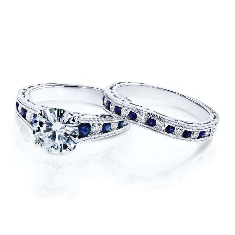Kobelli Forever One (D-F) Moissanite Bridal Set with Diamond and Sapphire 2 7/8 Carat in 14k White Gold