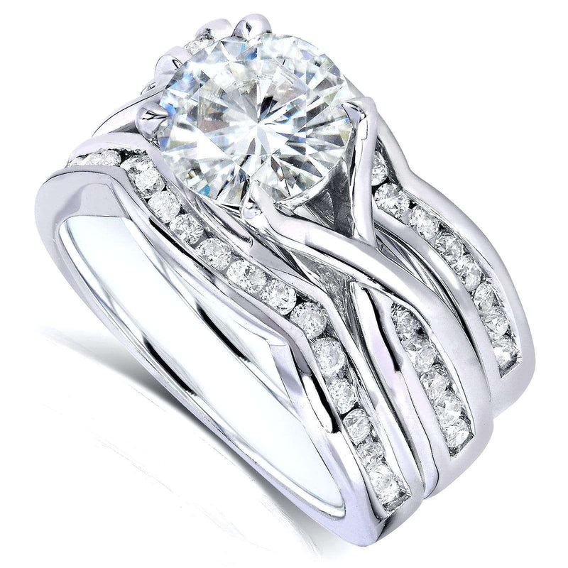 Kobelli Round Moissanite and Channel-set Diamond Trellis Bridal Rings 1 3/4 CTW 14k White Gold - 3 Piece Set (DEF/VS, GH/I)