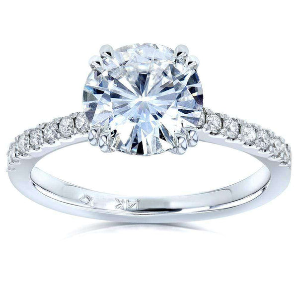 Kobelli Moissanite (DEF) and Diamond Engagement Ring 2 1/10 CTW 14k White Gold