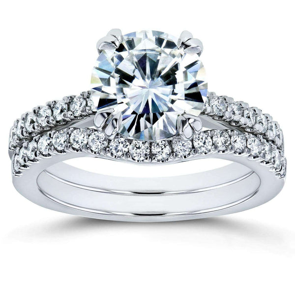 Kobelli Forever One Moissanite and Lab Grown Diamond Bridal Rings Set 2 1/3 CTW 14k White Gold (DEF/VS)