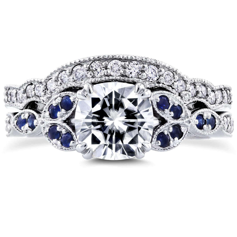 Kobelli Cushion Forever One Colorless Moissanite D-F with Sapphire and Diamond Accents Bridal Set 1 1/2 Carat TGW in 14k White Gold