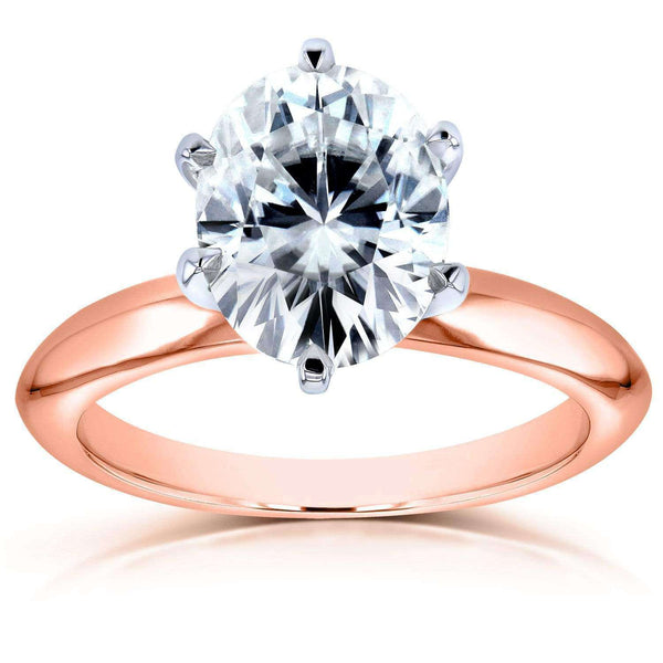 Kobelli Oval Forever One (D-F) Moissanite Solitaire Engagement Ring 2 1/10 Carat 14k Rose Gold