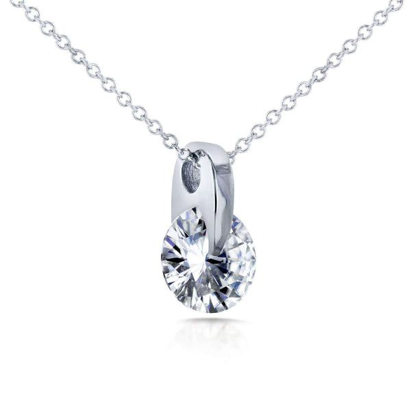 Kobelli Floating Forever One (D-F) Moissanite Solitaire Necklace 1 CTW 14k White Gold MZFO62188