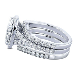 Cushion Forever One Moissanite Halo Bridal Rings 4 CTW CTW Platinum (3 Piece Set)