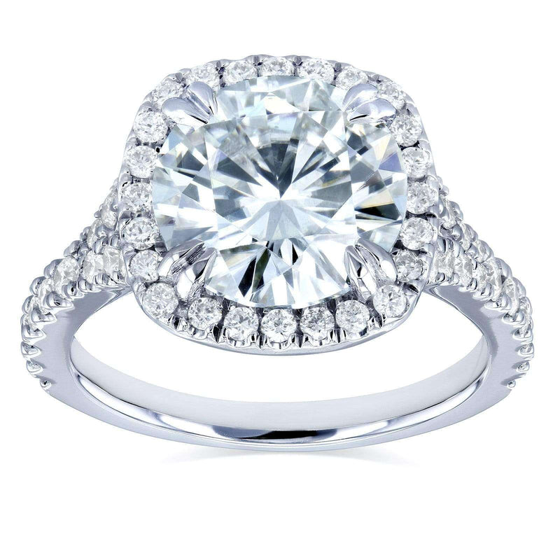 Kobelli Round Forever One Moissanite and Diamond Halo Engagement Ring 3 5/8 CTW 14k White Gold