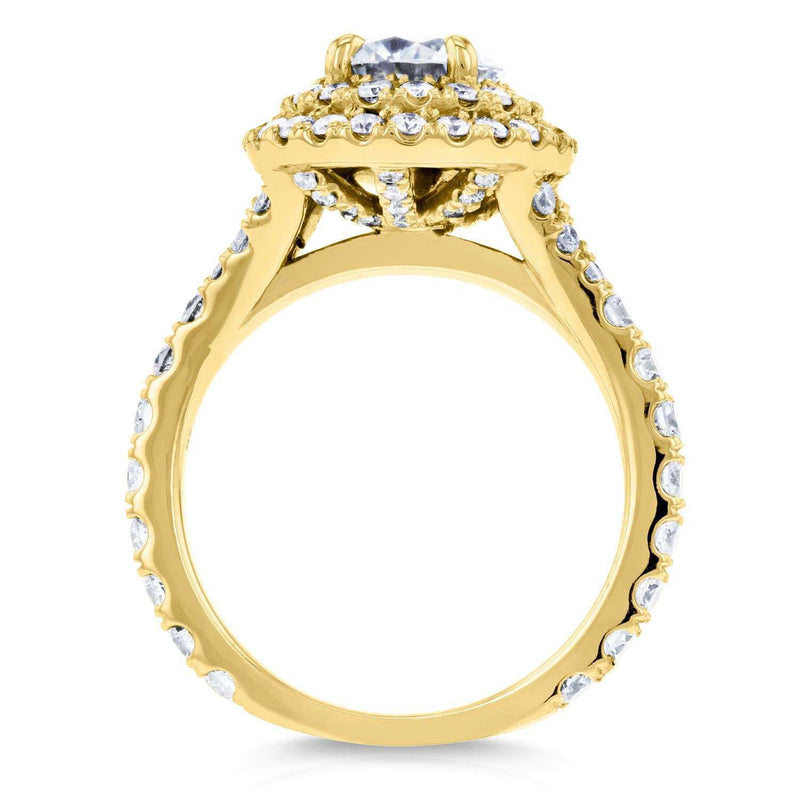 Kobelli Domed Cluster Moissanite (DEF) and Diamond Double Halo Ring 2 1/10 Carat TGW in 14k Yellow Gold