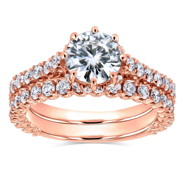 Kobelli Round Moissanite and Diamond 8-Prong Standing Halo Bridal Set 2 1/10 CTW in 14k Rose Gold