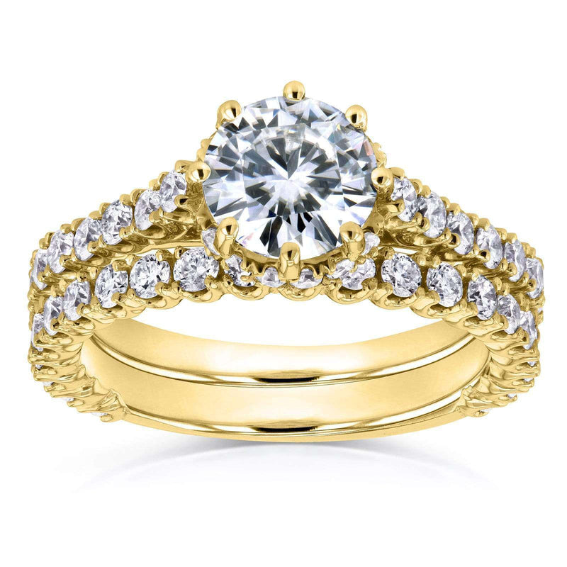 Kobelli Round Moissanite and Diamond 8-Prong Standing Halo Bridal Set 2 1/10 CTW in 14k Yellow Gold