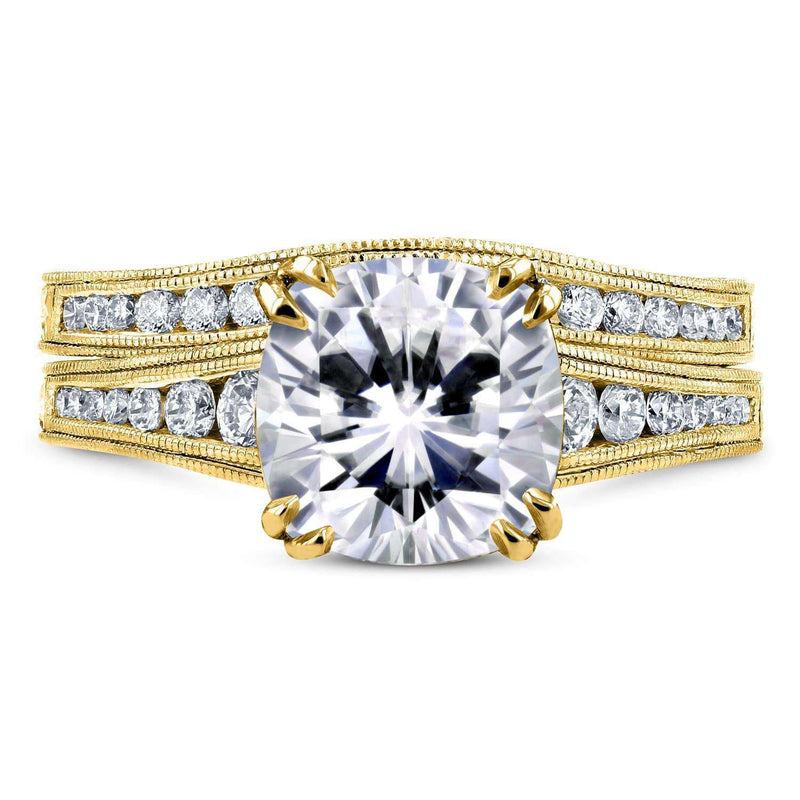 Kobelli Moissanite (DEF) and Diamond Channel Bridal Set  2 1/2ct TW 14k Yellow Gold