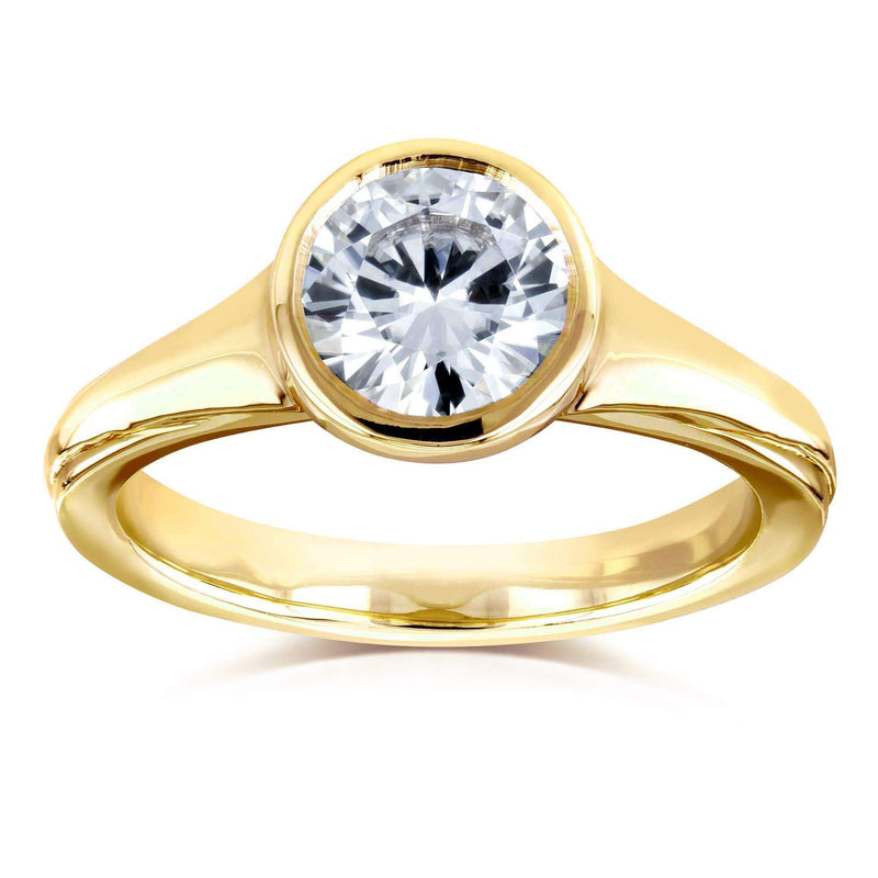 Kobelli Round Solitaire Bezel 1 Carat Moissanite (DEF) Ring in 14k Yellow Gold