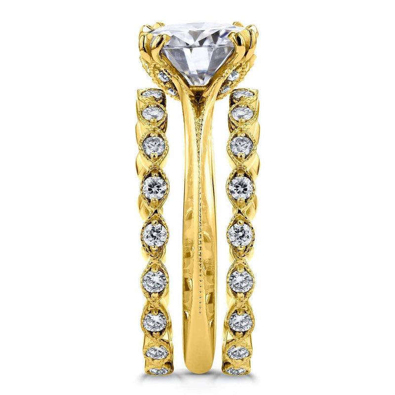 Kobelli Moissanite (DEF) and Diamond Bridal Set 3 3/5ct TCW in 14k Yellow Gold