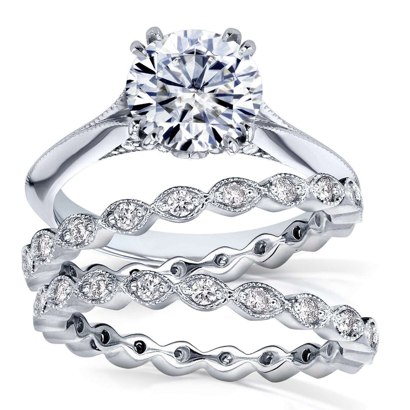 Moissanite (DEF) and Diamond Bridal Set 2 1/4ct TCW in 14k White Gold