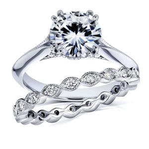 Kobelli 1 7/8 Carat TW Forever One Moissanite with Diamond Eternity Band