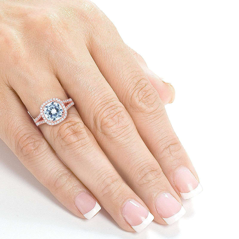 Kobelli Cushion D-E-F Moissanite with Diamond Split Shank Halo Engagement Ring 3 1/3 CTW 14k Rose Gold