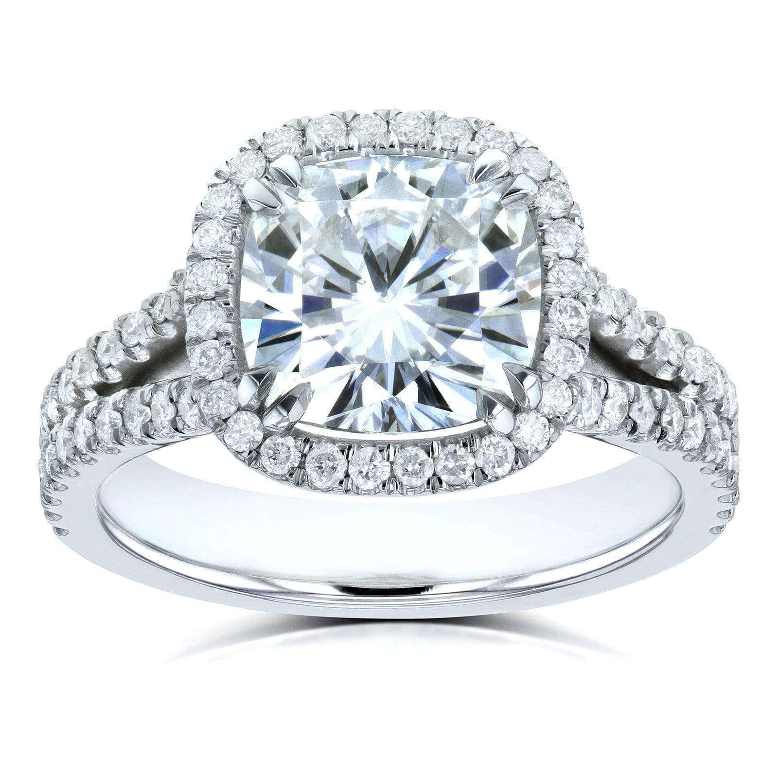 Coupons Cushion D-E-F Moissanite with Diamond Split Shank Halo Engagement Ring 3 1/3 CTW 14k White Gold - 5.5
