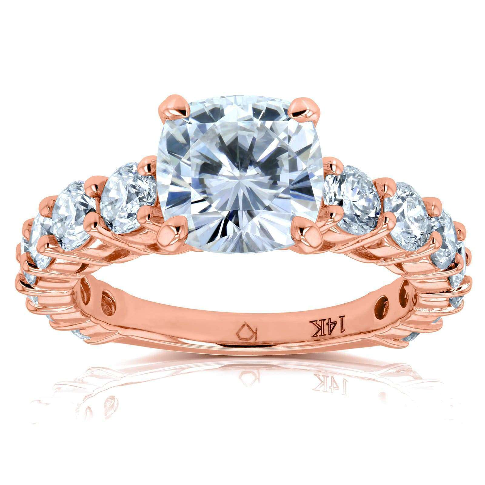 Cheap Cushion Forever One Colorless Moissanite and Diamond Engagement Ring 3 2/5 CTW 14k Rose Gold - 4.5