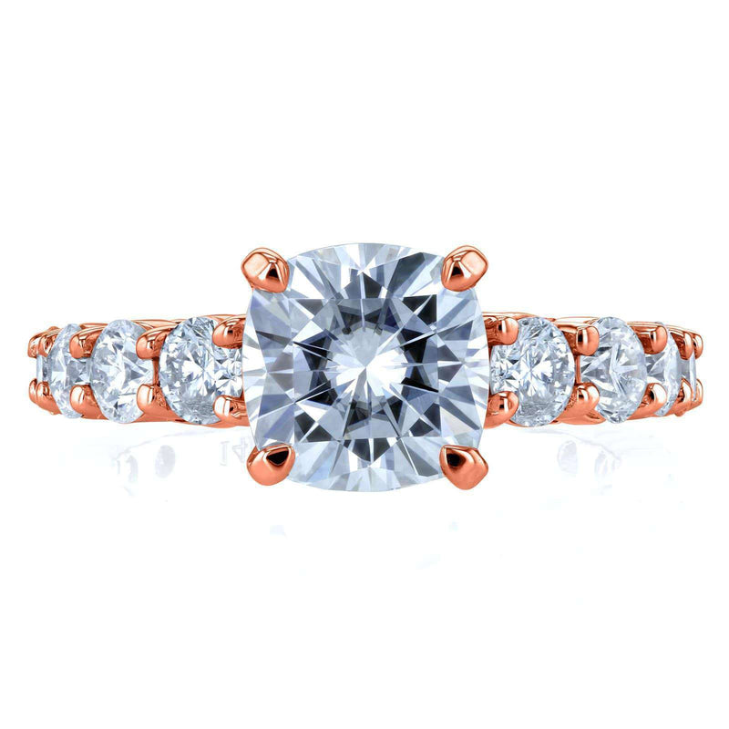 Kobelli Cushion Forever One Colorless Moissanite and Diamond Engagement Ring 3 2/5 CTW 14k Rose Gold