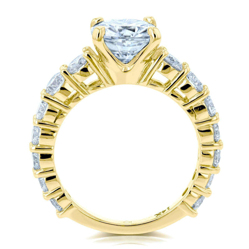 Kobelli Cushion Forever One Colorless Moissanite and Diamond Engagement Ring 3 2/5 CTW 14k Yellow Gold