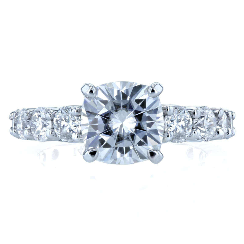 Kobelli Cushion Forever One Colorless Moissanite and Diamond Engagement Ring 3 2/5 CTW 14k White Gold