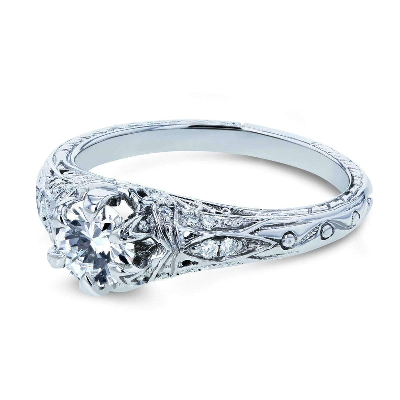 Kobelli Moissanite (D-E-F) and Diamond 6-Prong Antique Engagement Ring 5/8 CTW 14k White Gold