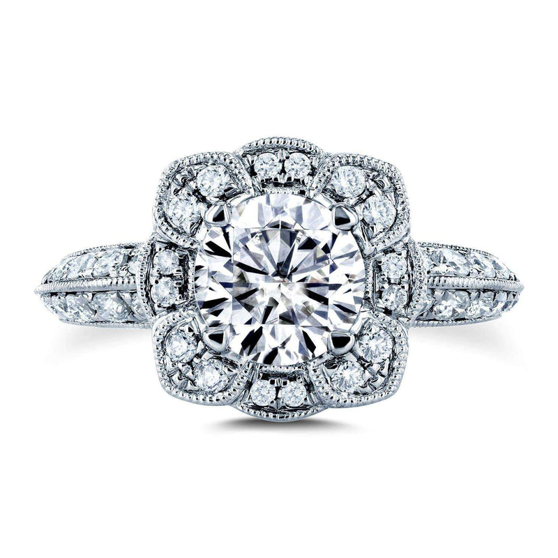 Kobelli Moissanite (DEF) and Diamond Floral Engagement Ring 1 1/2 CTW 14k White Gold